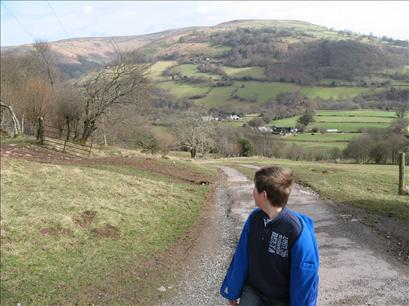 Will heading towards Sugar Loaf, with Pen Cerrig Calch behind