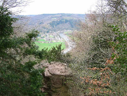 The Devil's Pulpit looking down on The Devil's Congregation at Tintern Abbey